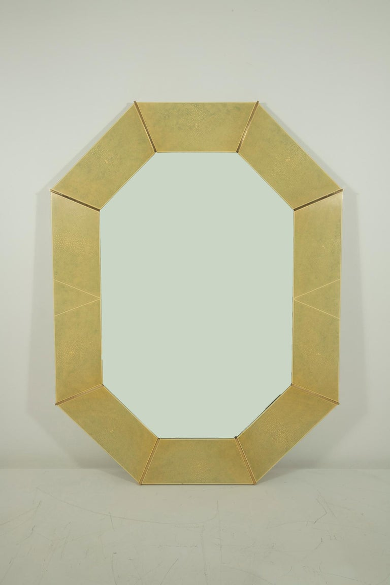 Karl Springer Faux Shagreen and Brass Wall Mirror For Sale 2