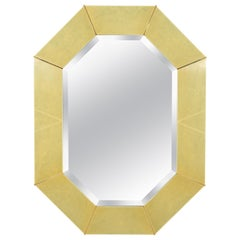 Karl Springer Faux Shagreen and Brass Wall Mirror