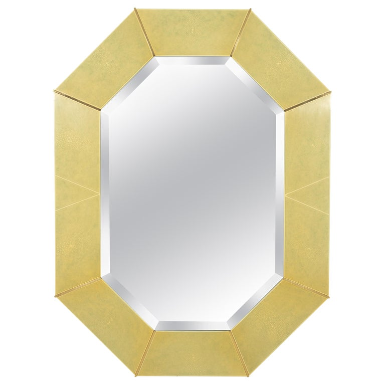 Karl Springer Faux Shagreen and Brass Wall Mirror For Sale