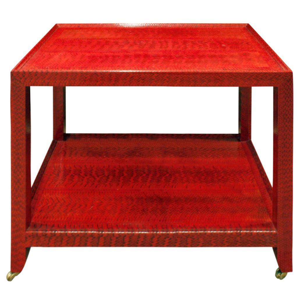 Karl Springer Fine End Table in Red and Black Cobra 1988