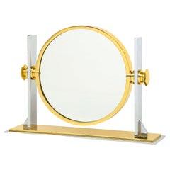 Karl Springer Fine Vanity Mirror in Polished Steel and Brass 1980s