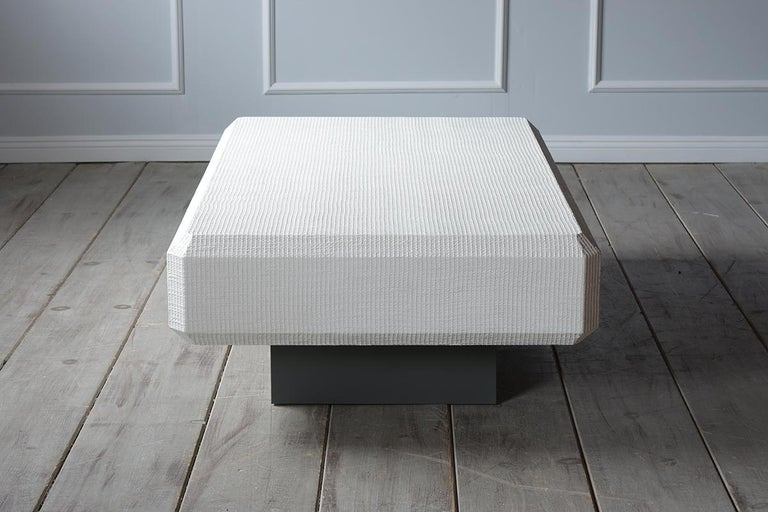 Lacquered Karl Springer Floating Grass Cloth Coffee Table For Sale
