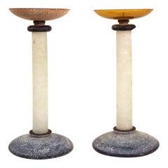 Karl Springer for Seguso Postmodern Murano Glass Candlesticks with Scavo Finish