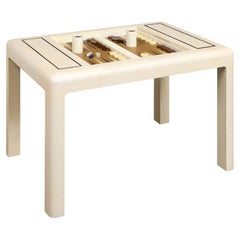 Karl Springer Game Table in Lacquered Linen with Bronze Accents, 1980s