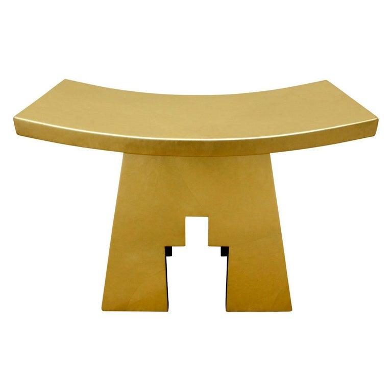 Karl Springer Gold Leather Bench 1990, Signed