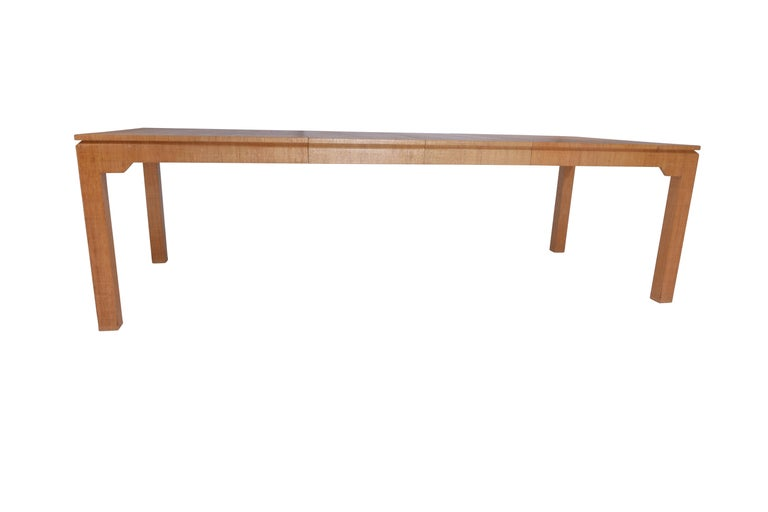 Karl Springer Grasscloth Covered Dining Table In Good Condition In Chicago, IL