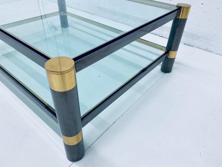 Karl Springer Gunmetal and Brass Coffee Table, Signed For Sale 3
