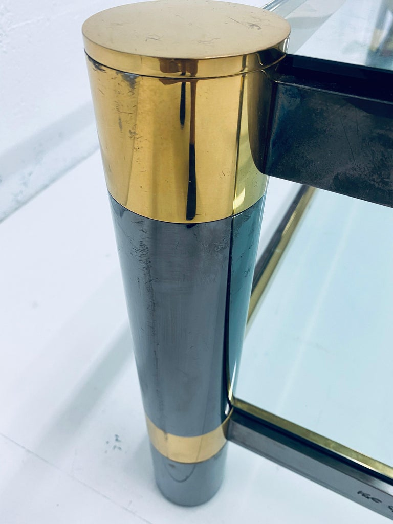 Karl Springer Gunmetal and Brass Coffee Table, Signed For Sale 4