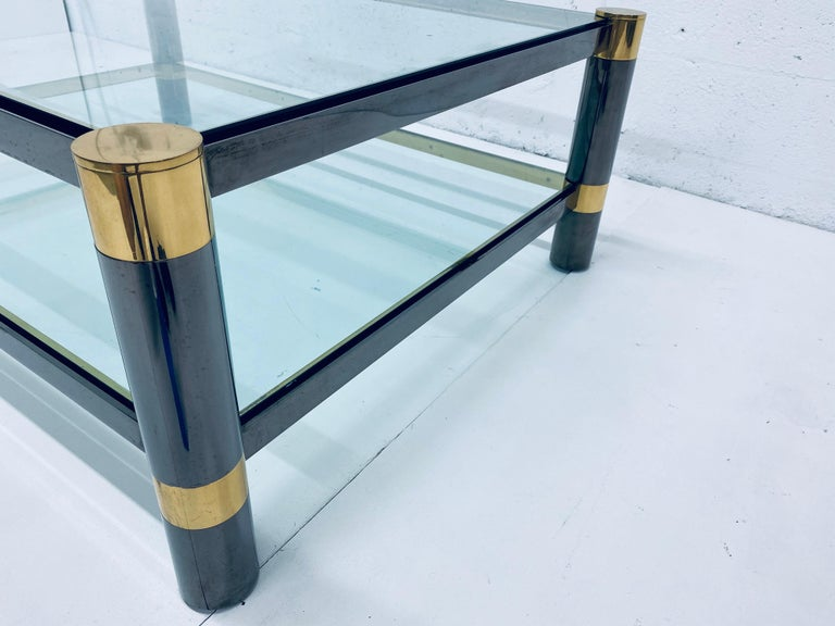 Karl Springer Gunmetal and Brass Coffee Table, Signed For Sale 6
