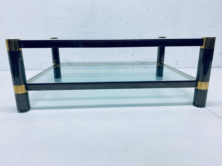 Modern Karl Springer Gunmetal and Brass Coffee Table, Signed For Sale