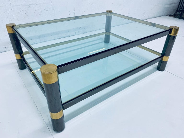 American Karl Springer Gunmetal and Brass Coffee Table, Signed For Sale