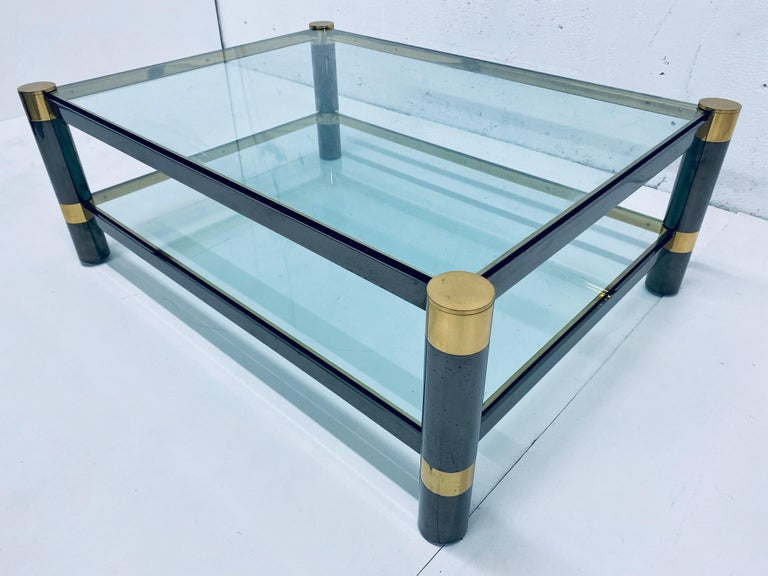 Karl Springer Gunmetal and Brass Coffee Table, Signed In Good Condition For Sale In Miami, FL