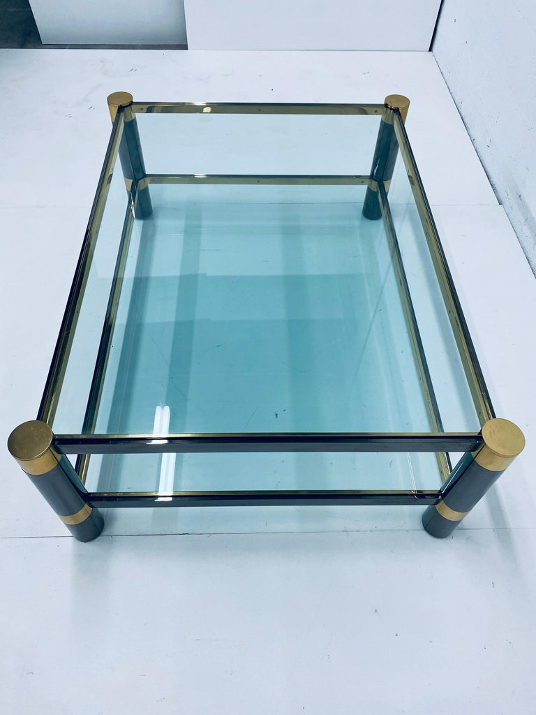 Late 20th Century Karl Springer Gunmetal and Brass Coffee Table, Signed For Sale