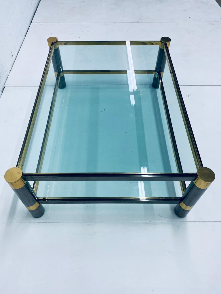 Metal Karl Springer Gunmetal and Brass Coffee Table, Signed For Sale
