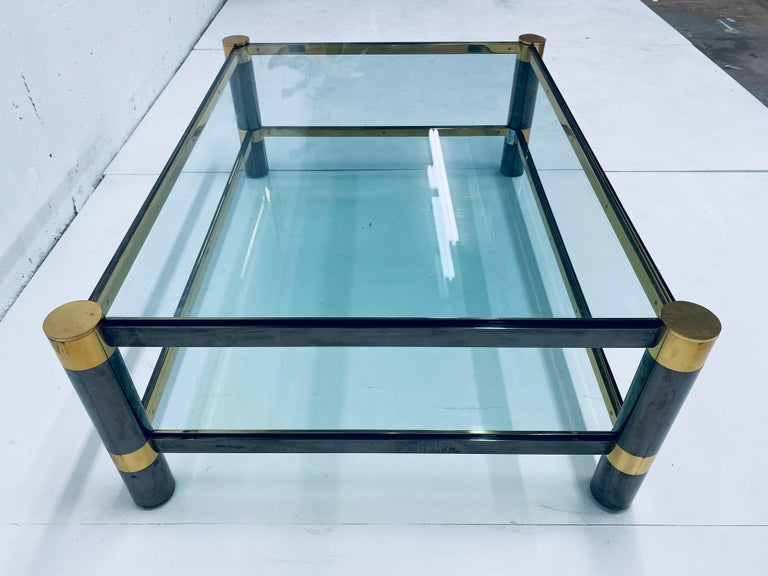 Karl Springer Gunmetal and Brass Coffee Table, Signed For Sale 1