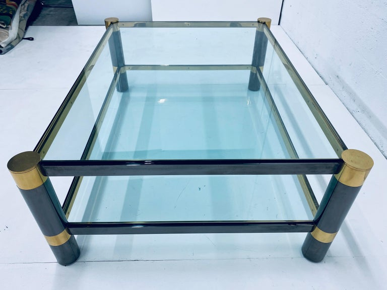 Karl Springer Gunmetal and Brass Coffee Table, Signed For Sale 2