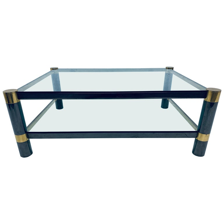 Karl Springer Gunmetal and Brass Coffee Table, Signed For Sale