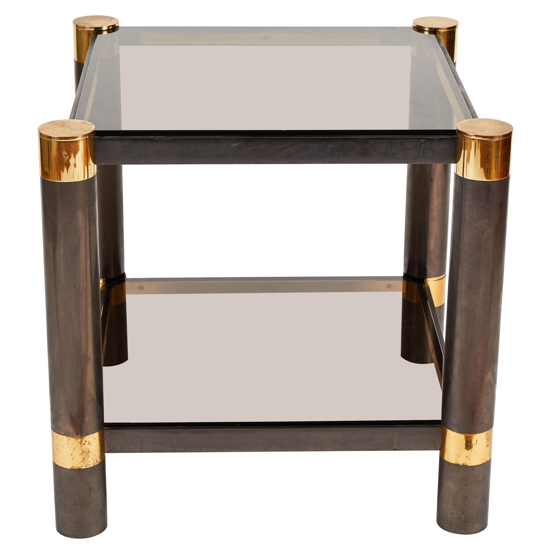 Karl Springer Gunmetal Brass, Glass End Table