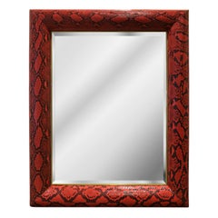 "Karl Springer ""Half Round Molding Mirror"" in Red Python 1980s 'Signed'"