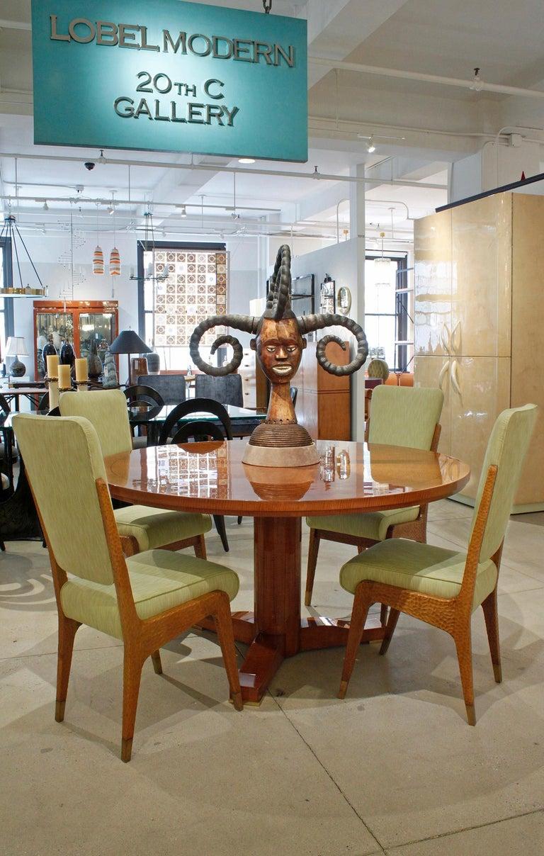 Karl Springer Hand-Carved African Sculpture on Custom Suede Base, 1980s For Sale 3
