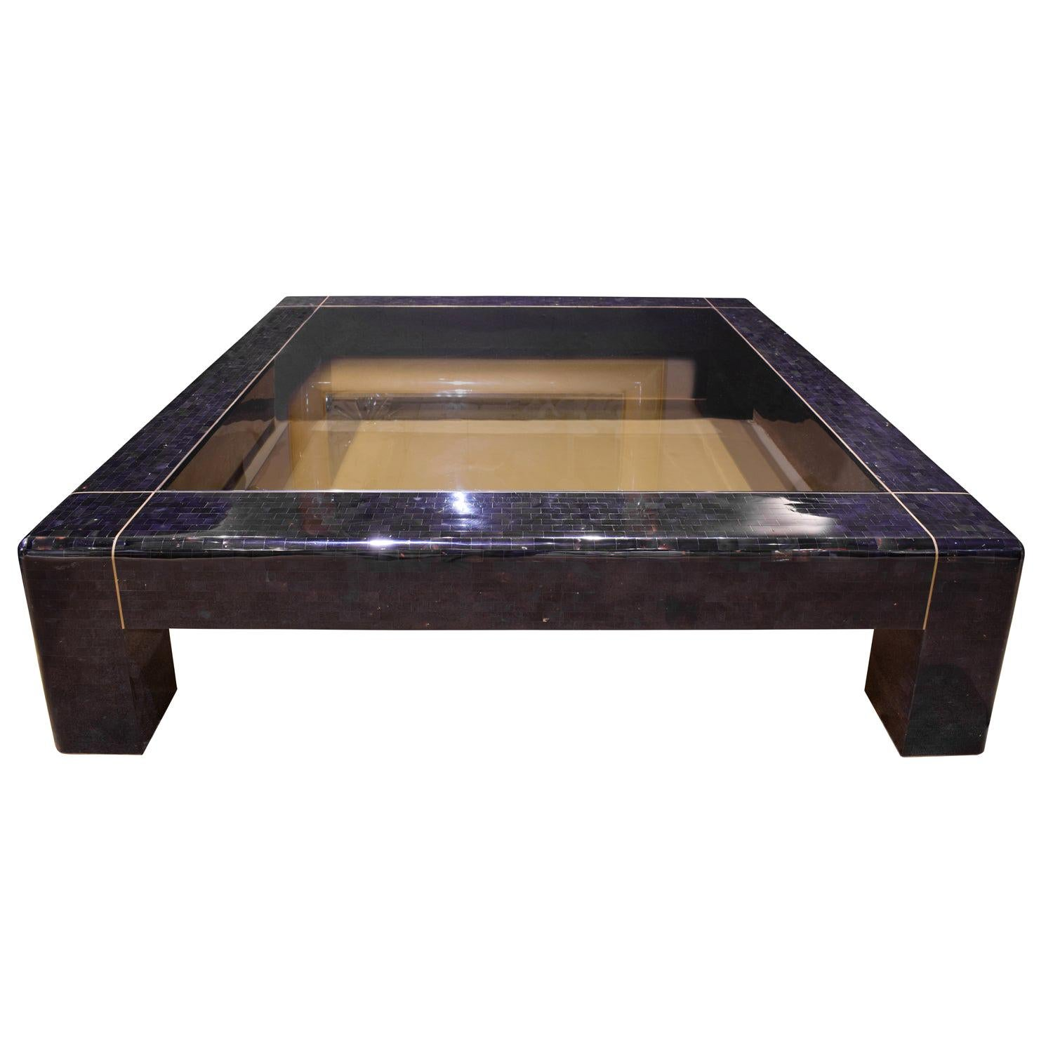 """Karl Springer """"Heavy Parsons Style Coffee Table"""" in Penshell, 1980s 'Signed'"""