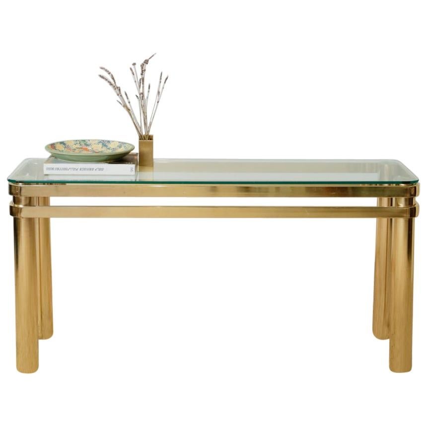 Karl Springer Hollywood Regency Style Brass and Glass Console Table