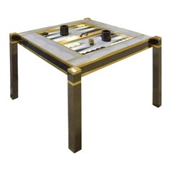 "Karl Springer Incredible ""Square Leg Game Table"" in Gunmetal and Brass, 1970s"