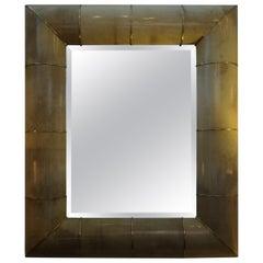 Karl Springer Inspired Goatskin and Brass Beveled Mirror
