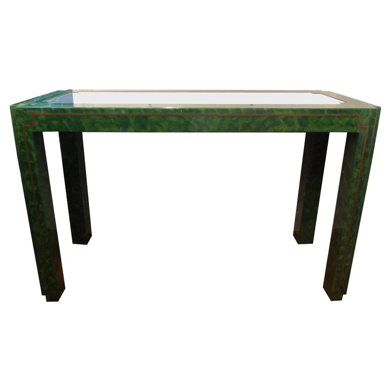 Karl Springer Inspired Green Lacquer and Brass Console Table For Sale