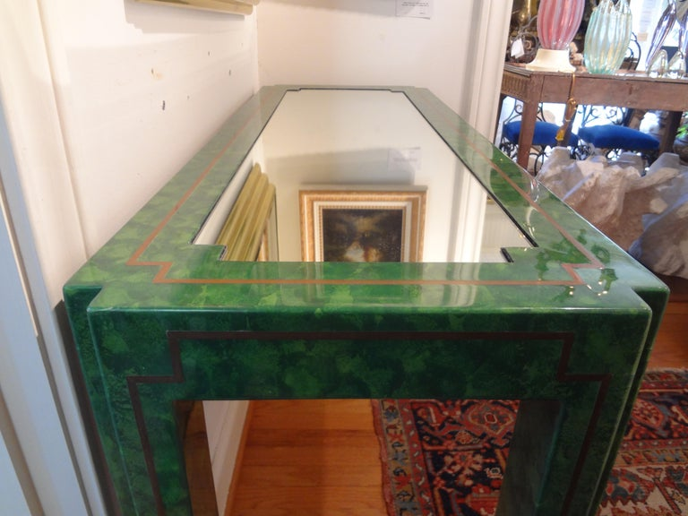 Karl Springer Inspired Lacquer and Brass Console Table For Sale 5