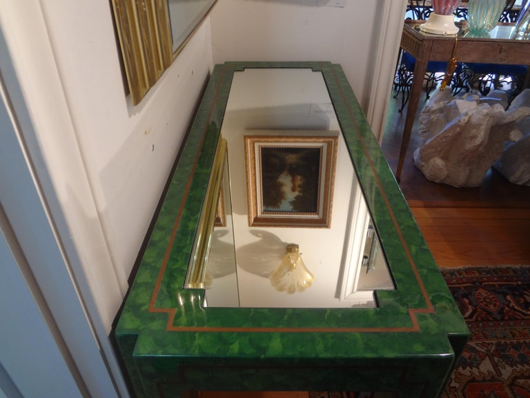 Karl Springer Inspired Lacquer and Brass Console Table For Sale 6