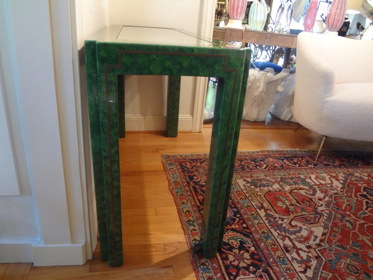Karl Springer Inspired Lacquer and Brass Console Table For Sale 7