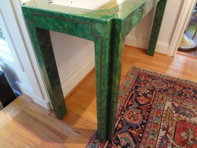 Karl Springer Inspired Lacquer and Brass Console Table For Sale 8