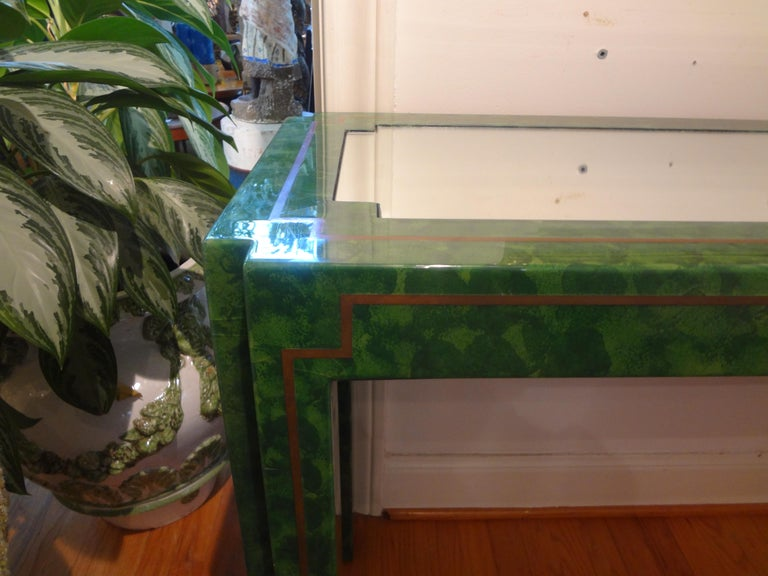Mid-Century Modern Karl Springer Inspired Lacquer and Brass Console Table For Sale