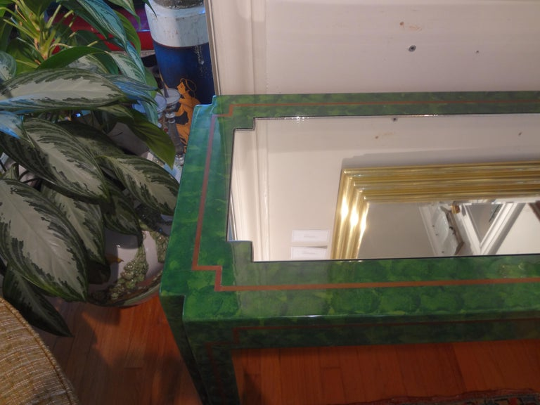 Karl Springer Inspired Lacquer and Brass Console Table In Good Condition For Sale In Houston, TX