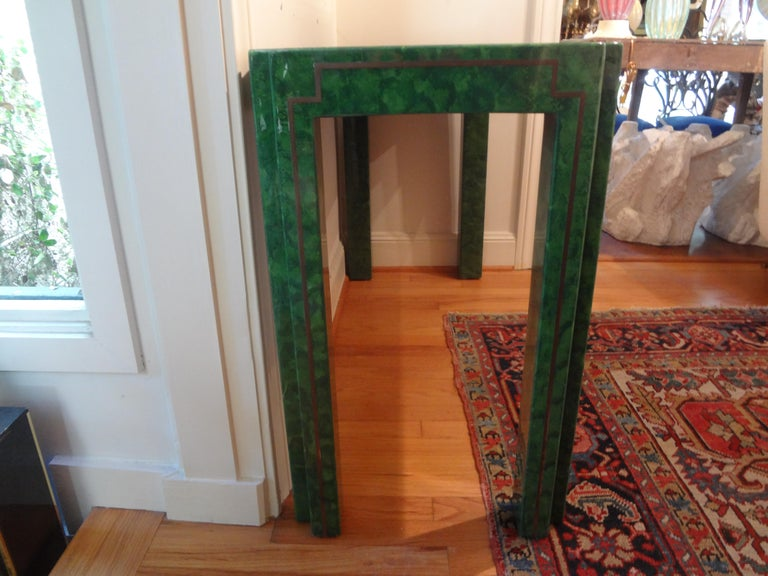 Karl Springer Inspired Lacquer and Brass Console Table For Sale 3