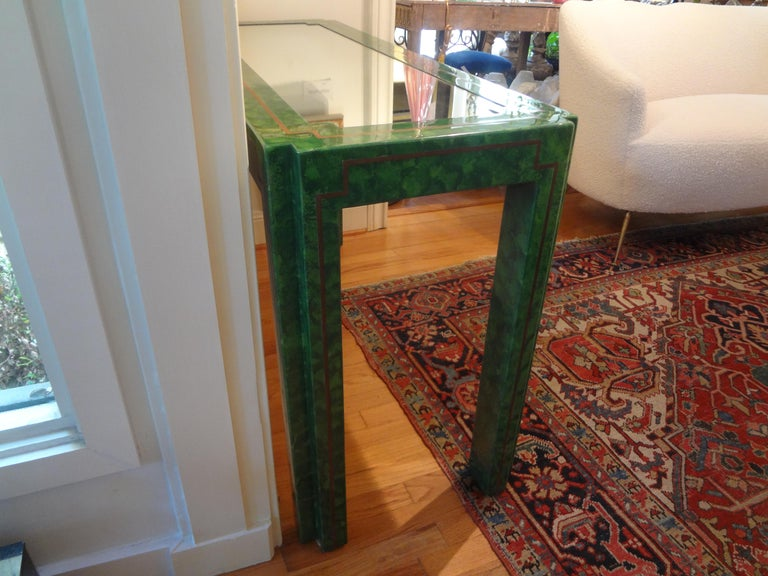 Karl Springer Inspired Lacquer and Brass Console Table For Sale 4