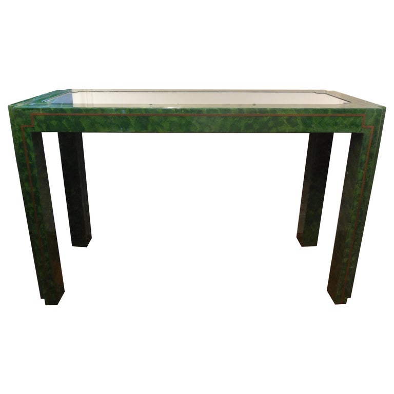Karl Springer Inspired Lacquer and Brass Console Table For Sale