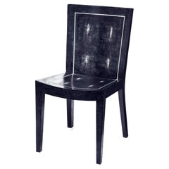 """Karl Springer """"JMF Chair"""" in Blue Shagreen with Bone Inlays 1980s 'Signed'"""