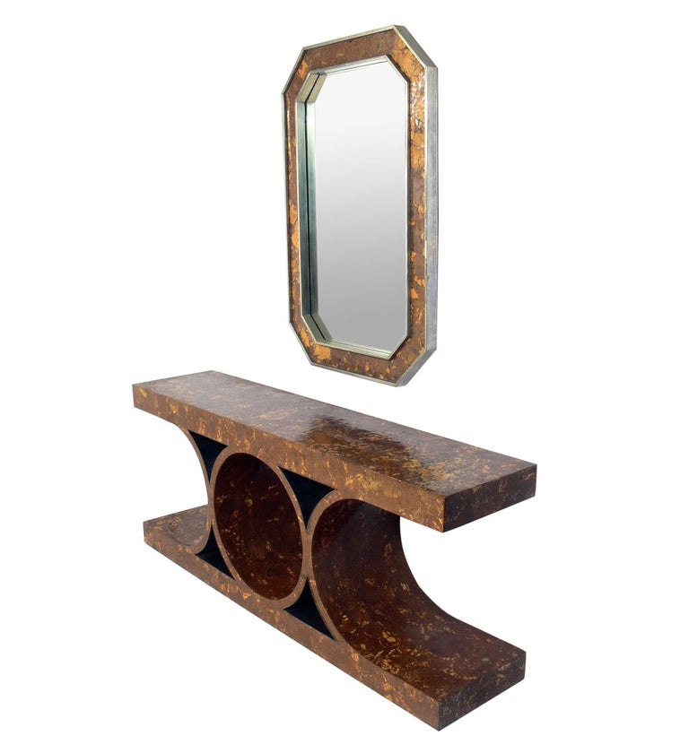 Karl Springer Style JMF (Jean Michel Frank) model console and mirror, American, circa 1970s. The mirror measures 47