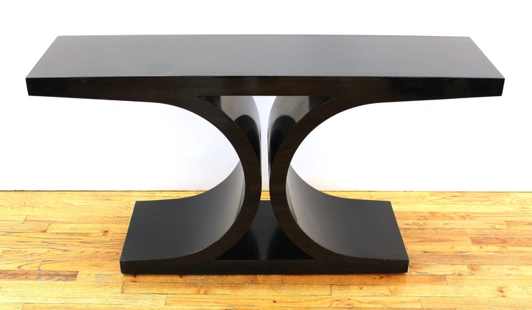 Karl Springer modern black lacquered 'JMF' console from the Jean Michel Frank series.