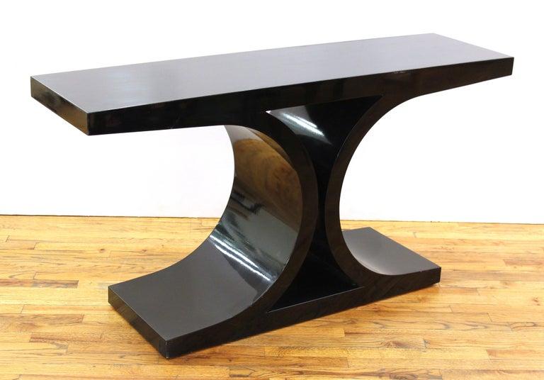 American Karl Springer 'JMF' Modern Black Lacquered Console For Sale