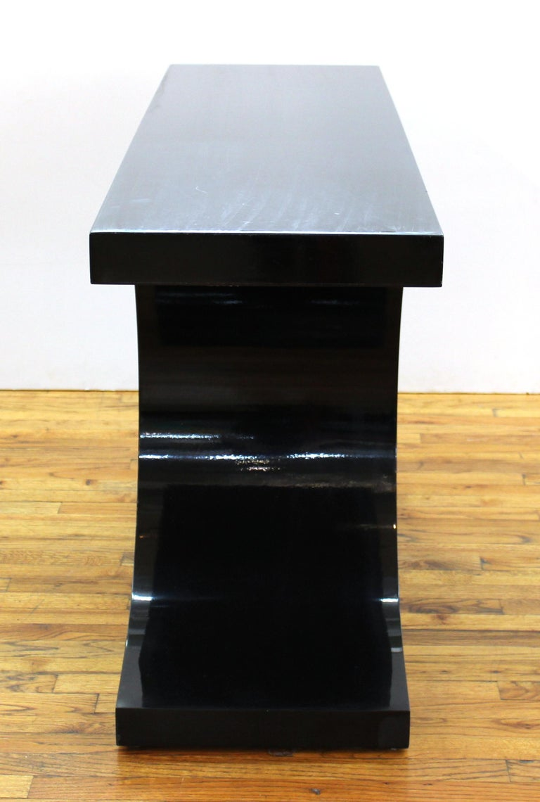 Karl Springer 'JMF' Modern Black Lacquered Console In Good Condition For Sale In New York, NY