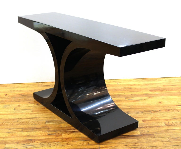 20th Century Karl Springer 'JMF' Modern Black Lacquered Console For Sale