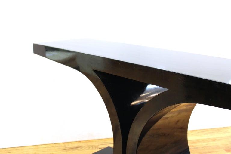 Wood Karl Springer 'JMF' Modern Black Lacquered Console For Sale