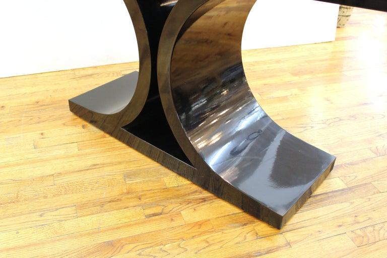 Karl Springer 'JMF' Modern Black Lacquered Console For Sale 1