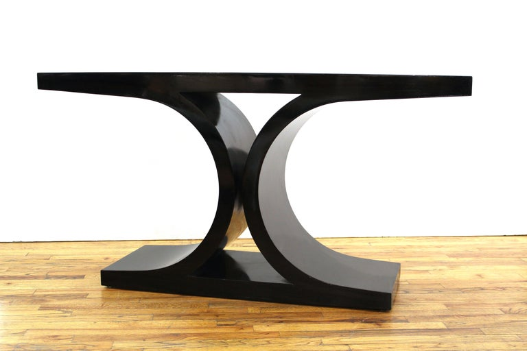 Karl Springer 'JMF' Modern Black Lacquered Console For Sale 2