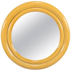 Karl Springer Lacquered Faux Ivory Double Bullseye Mirror