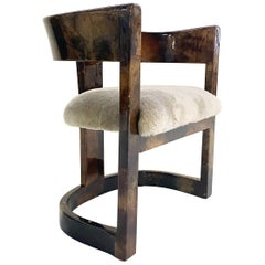 Karl Springer Lacquered Goatskin Armchair in Shearling