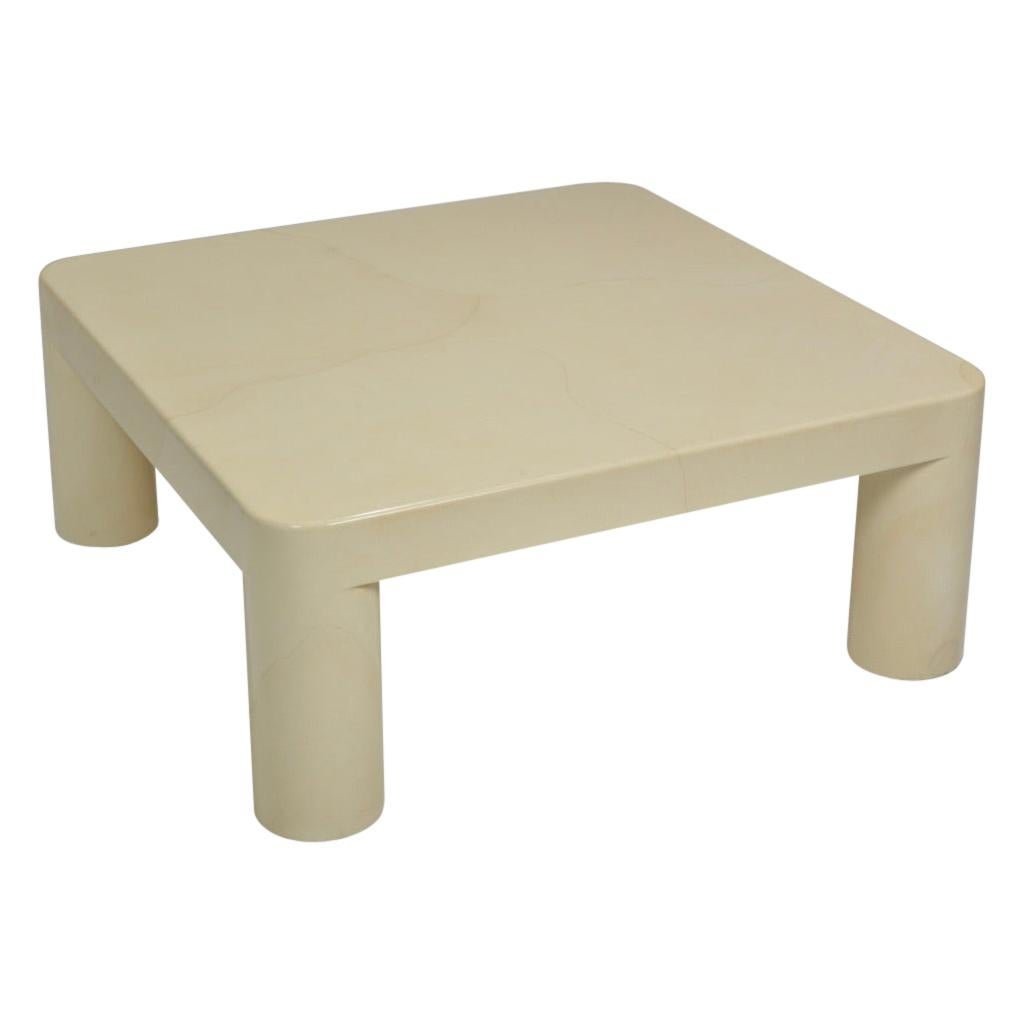 Karl Springer Lacquered Goatskin Square Coffee Table
